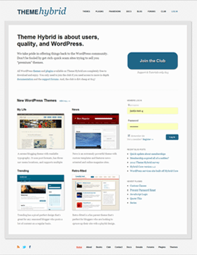 Screenshot of the new Theme Hybrid front page