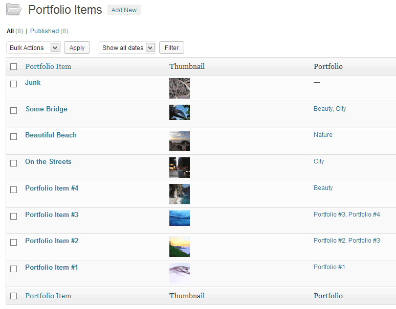 Screenshot of the portfolio items edit screen