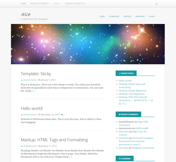 Screenshot of the Alice WordPress theme