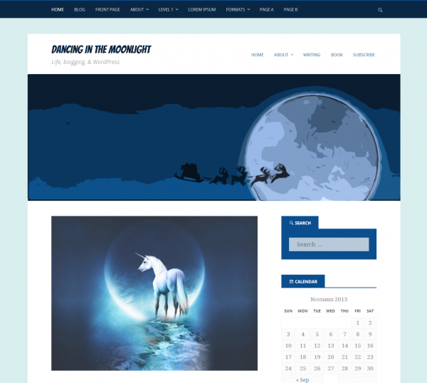 Screenshot of the Dancing In The Moonlight WordPress theme