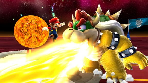Bowser breathing flames